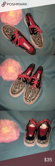 Sperry topsiders black white pink 7.5 Super cute topside slip On shoes, excellent condition, slight wear on soles. Sperry Top-Sider Shoes Flats & Loafers
