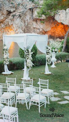 Take a look at our beautiful lake gazebo! Destination Wedding, Wedding Venues, Fairy Lights Wedding, Floral Wedding Decorations, Outdoor Wedding Inspiration, Greece Wedding, Elegant Wedding, Gazebo, Outdoor Decor