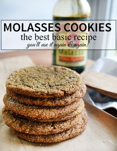 The Best Molasses Cookie recipe, you'll use it again and again! | nelliebellie.com | cookies, molasses, cookie recipe