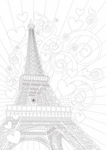 paris tribute 02 adult coloring page - Paris Eiffel Tower Coloring Pages