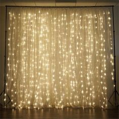 600 Sequential Warm White LED Lights BIG Wedding Party Photography Organza Curtain Backdrop - x Led Curtain Lights, String Lights, Backdrop Lights, Fairy Light Curtain, Curtain Rods, Backdrop Decor, Gold Backdrop, Backdrop Ideas, Booth Ideas