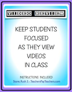 Keep your students FOCUSED as they watch videos in your class! Add this packet to your sub folder!