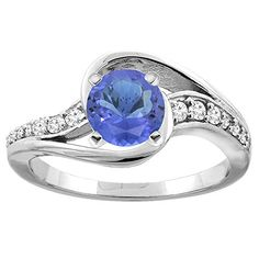 Solitaire Tanzanite Bypass Promise Ring with Diamond Accents 4mm Tanzanite