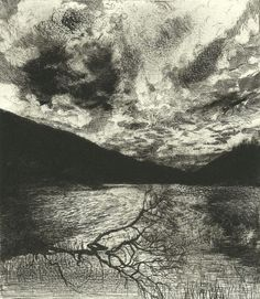 Bruno Cavellec,Nocturne drypoint, size/date- N/A, Landscape Drawings, Abstract Landscape, Landscape Paintings, Nocturne, Gravure Photo, Drypoint Etching, Haunting Photos, Nature Images, Print Artist