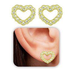 b015583dd8d Brinco folheado a ouro em forma de coração c  micro zircônias - Clique para  maiores