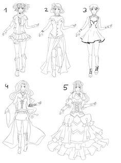 Outfit set 9: dresses and skirts by Kohane-chan.deviantart.com on @DeviantArt