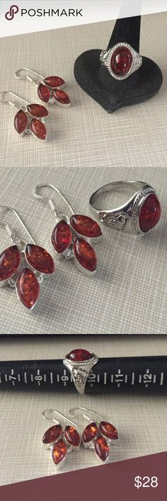 Beautiful Amber set Beautiful Amber set with ring size 9'5 silver inlay to prevent tarnish handcrafted artisan design gorgeous style pressed cherry Amber earrings are 1'1/2 long NWOT Jewelry Rings