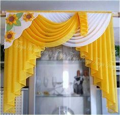 Swag Curtains, Curtains And Draperies, Home Curtains, Modern Curtains, Kitchen Curtains, Valances, Curtain Designs For Bedroom, Drapery Designs, Rideaux Design