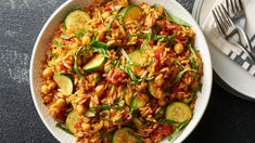 Lemon and fresh basil give this light-yet-satisfying dish its bright flavor, while the orzo, chick peas, zucchini and tomatoes complete the meal.
