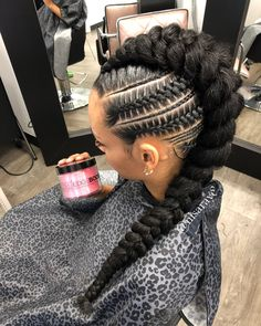 I live for this look, Messy Mohawk w/ blunt end. Edges by ?… I live for this look, Messy Mohawk w/ blunt end. Edges by ? Box Braids Hairstyles, Braided Mohawk Hairstyles, African Hairstyles, Braided Mohawk Black Hair, Black Hairstyles, Cornrow Mohawk, Hairstyles 2018, Mohawk Braid Styles, Curly Hair Styles