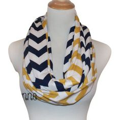 Navy and Mustard Infinity - Two Scarves