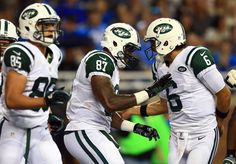 df76eed8a New York Jets tight end Jeff Cumberland celebrates with Mark Sanchez after  catching a pass for a touchdown in the first quarter of a preseason game  against ...