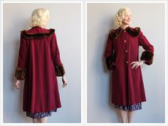 ~1940s Wool Coat with faux fur trim ~Large fold over collar ~Large faux fur cuffs ~4 button front ~Side pockets ~Deep wine color ~Shoulder pads ❉