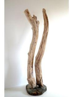 Kunst vom Meerweg, Treibholzskulptur ARMOR & PSYCHE, füreinander bestimmte Nordsee-Treibhölzer, Strandholz als Kunstobjekt, Meerkunst von manunatura mit Verve in Schleswig-Holstein gefertigt