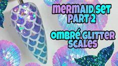 Sparkle Nail Designs, Diy Nail Designs, Sparkle Nails, Mermaid Nail Art, Mermaid Diy, Mermaid Scales, Ombre Gel Polish, Gel Nail Polish, Dolphin Nails