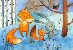 На именины (Виктория Кирдий) Going to the BD party))) It is a work by Russian artist Victorya Kirdiy))) Fuchs Illustration, Winter Illustration, Children's Book Illustration, Painting For Kids, Painting & Drawing, Art For Kids, Winter Scene Paintings, Angel Wings Wall Art, Illustrator