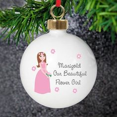 #christmasbaubles  #personalisedbauble #christmasgifts  #freeukdelivery  #flowergirlgifts #wedding  A fabulous way to say thank you to your Flower Girl especially if you have a Wedding near Christmas Personalise with a name on the front 12