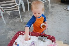 This is a Favorite of ours Materials Needed:1 Roll Toilet Paper1 Bar grated Dove OR Ivory soap (only those two brands work, I always choose Ivory I like it best)Warm WaterGrater or microwaveTub to contain the FUN! Directions:1. Grate the bar of soap until it is all shavings into a large tub. If you are …