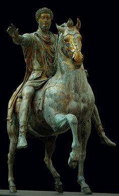 Equestrian statue of Marcus Aurelius, 175 A.D. Musei Capitolini, Rome.province of Rome Lazio region Italy