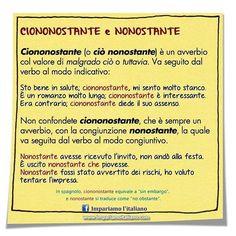 """122 Likes, 3 Comments - Impariamo l'italiano  (@impariamoitaliano) on Instagram: """"Uso di ciononostante e di nonostante  #learnitalian #learningitalian #studyitalian #italianlanguage…"""""""