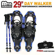 """New 2012 MTN Man Woman Kid Youth 29"""" WP BLUE Snowshoes with BLUE Nordic Walking Pole Free Bag by MTN Snowshoes. $69.95. Snowshoeing is a great winter aerobic activity. To get the most of your snowshoeing workout in the winter, it is important to train for snowshoeing activities throughout the year. We offer these quality snowshoes with lowest wholesale price for you. One of the things that about snowshoeing is that snowshoes are highly maneuverable, allowing people to go places..."""
