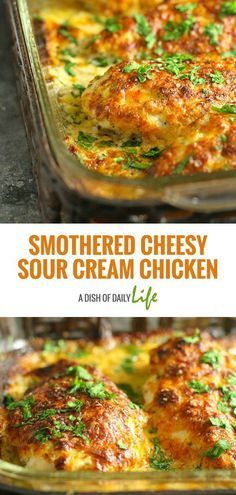 Smothered Cheesy Sour Cream Chicken Recipe Smothered Cheesy Sour Cream Chicken: Fast, easy, delicious baked chicken dish that the whole family will LOVE! 10 min prep time & the oven takes care of the rest! Cooking Recipes, Healthy Recipes, Easy Recipes, Diabetic Recipes, Diabetic Desserts, Easy Delicious Recipes, Chef Recipes, Family Recipes, Fast Chicken Recipes Easy