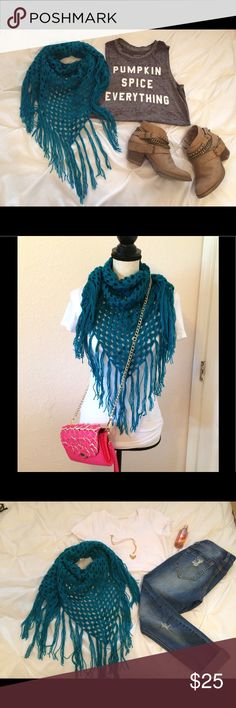 🍁Fall Trendy Blue Triangle Crochet Scarf Handmade Congrats, you just met your new favorite scarf! This trendy beauty is the perfect piece to tie any fall outfit together and the beautiful blue color is simply stunning. Handmade with love! Also available in yellow. Handmade Accessories Scarves & Wraps