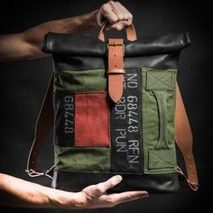 Canvas and leather backpack with military vintage upcycled elements / Roll top backpack by Kruk Garage made of British army duffle bag by KrukGarage on Etsy https://www.etsy.com/listing/226672503/canvas-and-leather-backpack-with