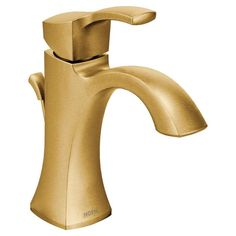 Moen Voss Brushed Gold Single Hole WaterSense Bathroom Sink Faucet with Drain at Lowe's. Crisp edges and uncomplicated style features give the Voss collection an ageless, yet fashion-forward, presence. Each silhouette brings a confident Gold Bathroom Faucet, Gold Faucet, Bathroom Drain, Custom Countertops, Faucet Handles, Water Conservation, At Least, Vintage, Bathroom Ideas