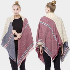 Great Boho Feel Oversized Blanket #blanketscarf #shop How To Wear A Blanket Scarf, Fall Accessories, Girl Fashion, Kimono Top, Vest, Boho, Shopping, Women, Women's Work Fashion