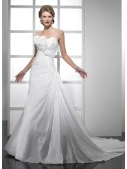 Bordeaux Taffeta Pleated Asymmetrically Strapless Sweetheart Neckline A-line Wedding Dress