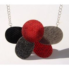 Wearable Art Necklace Red Grey Black and Silver Necklace, Oval and... ($40) ❤ liked on Polyvore featuring jewelry, necklaces, handmade beaded jewelry, beading jewelry, red necklace, beading necklaces and hand made beaded jewelry
