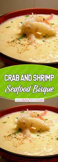 and Shrimp Seafood Bisque Yummy Mommies - meal receipts amp; list of dishes and heart healthy recipesYummy Mommies - meal receipts amp; list of dishes and heart healthy recipes Crab Recipes, Gourmet Recipes, Soup Recipes, Cooking Recipes, Cooking Bacon, Snack Recipes, Dinner Recipes, Cooking Ribs, Chowder Recipes