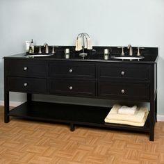 """72"""" Taren Double Sink Vanity - Undermount Sinks - 8"""" Faucet Holes - 3/4"""" Black"""