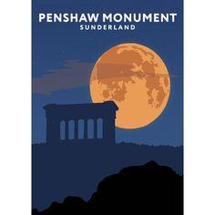 'Penshaw Monument Night' Graphic Art East Urban Home Format: No Frame, Size: 40 cm H x 30 cm W x 1 cm D