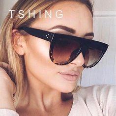 Now trending: Designer Women Flat Top Vintage Sun glasses Female Rivet Shades