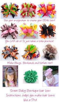 How to Make Hair Bows Instructions E-Book THESE ARE AMAZING INSTRUCTIONS! Learn how to make those gorgeous boutique hair bows everyone else pays a fortune for! She's been making/selling bows since Diy Hair Bows, Making Hair Bows, Ribbon Hair Bows, Diy Bow, Bow Making, Ribbon Jewelry, How To Make Hair, How To Make Bows, Barrettes