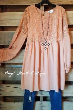 Sensible Lace Dress - Salmon - Tassels N Lace - Dress - Angel Heart Boutique