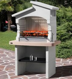 Barbecue grill modern look Outdoor Barbeque Area, Outdoor Grill, Outdoor Cooking, Barbecue Design, Grill Design, Barbecue Garden, Barbecue Grill, Bbq Stand, Stone Bbq