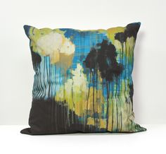 """Each pillow in my collection begins life as an original painting on canvas.  I use enthusiastic brush strokes, playful drips, and color and contrast to create paintings full of movement and energy.  After the painting is complete, I create a digital print on fabric before sewing it into the finished pillow.   The result - each pillow has the depth and texture of an original painting but the durability of a printed fabric.  It's the perfect blend of art and function.18"""" pill..."""