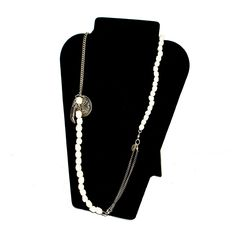Bone Skull Necklace with Silver Charms
