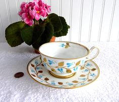 Cup And Saucer Royal Chelsea All Hand Painted Gold Leaves Aqua England 1950s