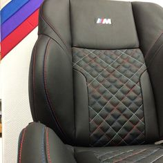 BMW M3 E36 black and red and blue grey interior diamond stitch