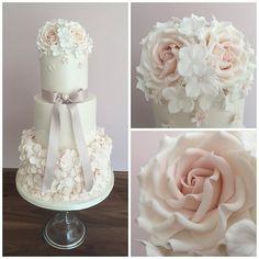 Another pretty cake from the weekend set up at @thevaleresort for Bethany & Kevin #wedding #cake #weddingcake #blush #pretty #sugarflowers #sugarrose #ruffle #rufflecake #wishuponacupcake