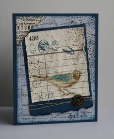 Stamps: Nature Walk, Fabulous Phrases Paper: Night of Navy, Newsprint DSp, Ink: Soft Suede, Night of Navy, Sahara Sand Accessories: Antique brads, linen thread, Log Cabin smooch spray
