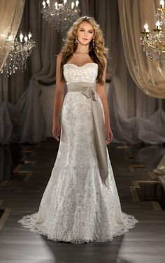 STYLE 419  Beautiful sheath wedding dress features a sweetheart neckline and crystal beading throughout. Exclusive designer sheath wedding dress by Mar...