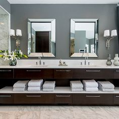 Dark Brown Double Vanity - Love this easily accessible storage, plus the drawers for those things that need to be in a drawer!!!