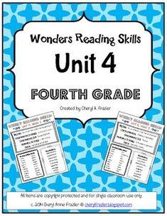 Wonders Reading Unit 2 Skill, Vocab, and Spelling List (4th grade ...