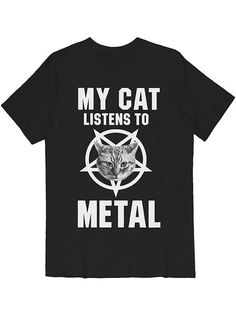 My Cat Listens To Metal Tee White on Black – Killer Condo