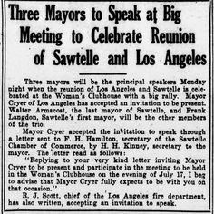 Frank Langdon first Mayor of Sawtelle and Walter Armacost last Mayor of Sawtelle celebrate the merging of the city of Sawtelle to the city of Los Angeles, to become  West Los Angeles, July 13, 1922.